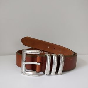 Kenneth Cole Leather Belt Silver Buckle Brown